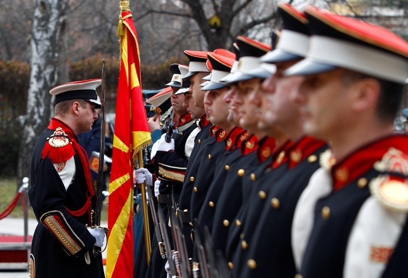 Members of the Macedonian honor guard line up before the welcoming ceremony for Croatian Defense Minister Damir Krsticevic (not pictured) in Skopje, Macedonia, Feb. 5, 2019. (Reuters Photo)