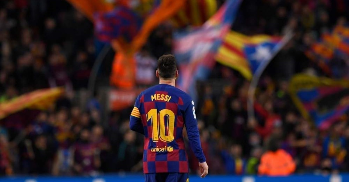 Messi celebrates after scoring during the Spanish league football match against RC Celta de Vigo at the Camp Nou stadium in Barcelona on Nov. 9, 2019. (AFP Photo)
