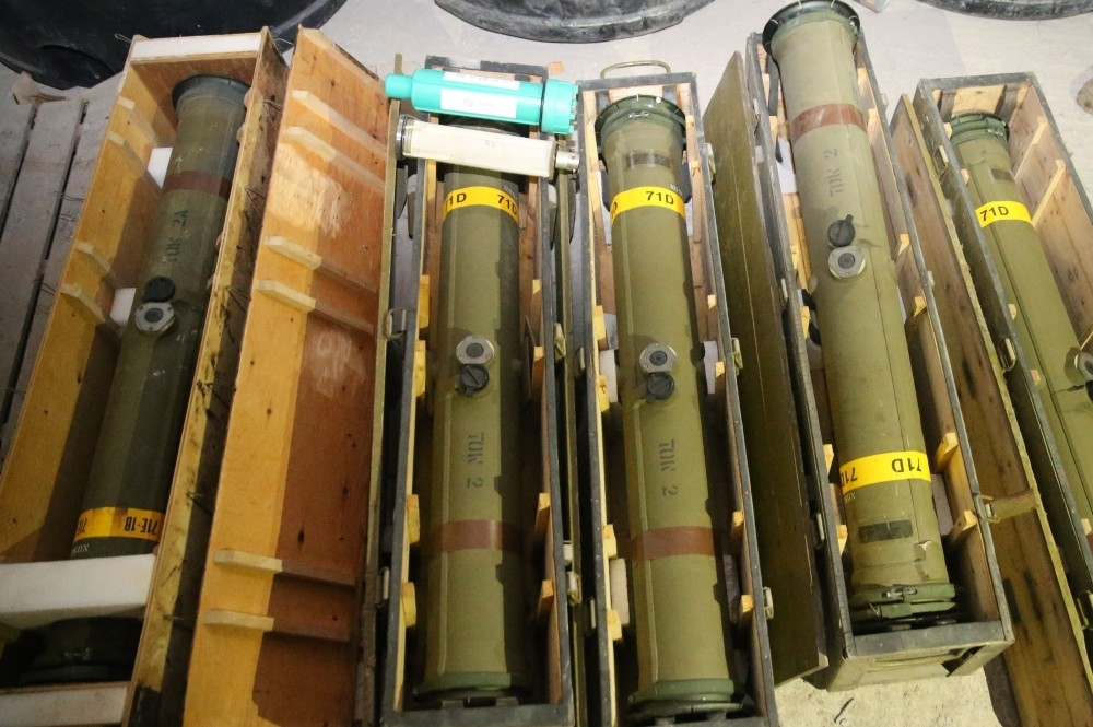 US-made TOW anti-tank missiles were also captured in the large weaponry depot in countryside Afrin on Sunday.