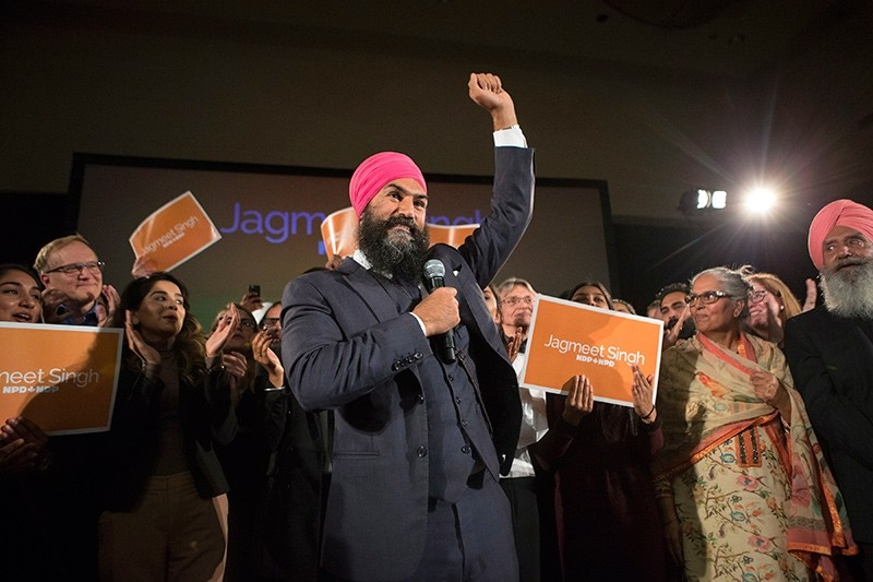 Jagmeet Singh celebrates with supporters after his first-ballot triumph in the contest for leader of the leftist New Democrat party in Toronto on Sunday, Oct. 1, 2017 (AP Photo)