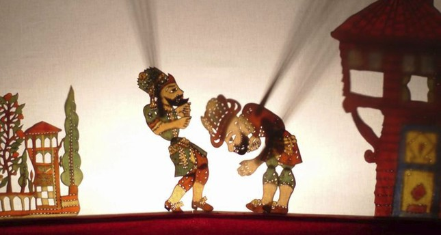 A scene from the traditional Karagöz-Hacivat shadow play.