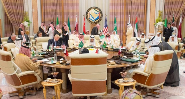 The leaders of the the Gulf Cooperation Council (GCC) and U.S. President Donald Trump seen attending the opening session of the GCC summit, Riyadh, Saudi Arabia, May 21.