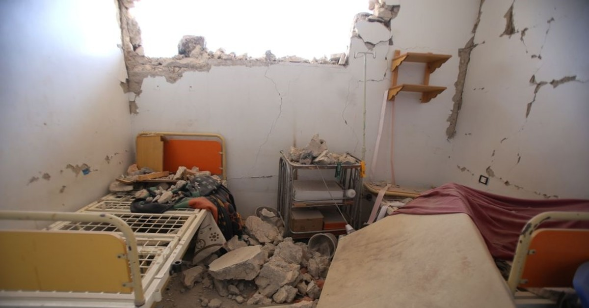 A damaged interior after a regime airstrike on a makeshift health clinic near Tallmannis in Syria's northern Idlib province, Aug. 21, 2019.