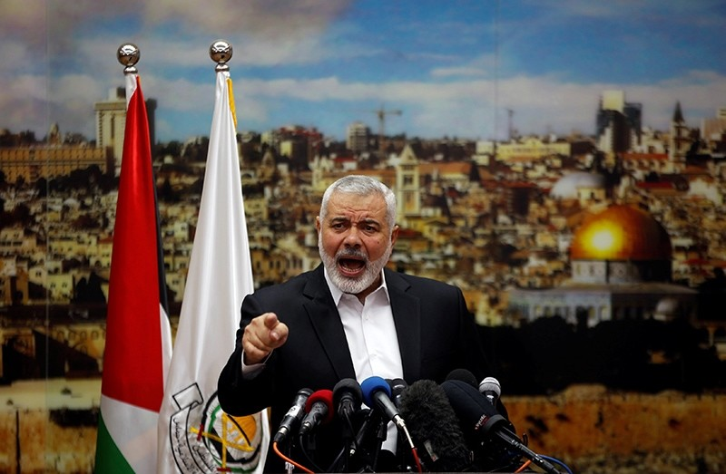Hamas Chief Ismail Haniyeh gestures as he delivers a speech over U.S. President Donald Trump's decision to recognize Jerusalem as the capital of Israel, in Gaza City, Dec. 7, 2017. (Reuters Photo)