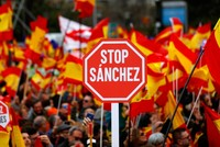 Protesters rally in Madrid against Spanish government's easing Catalonia policy