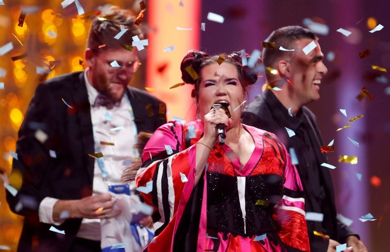 Israel's Netta performs after winning the Grand Final of Eurovision Song Contest 2018 at the Altice Arena hall in Lisbon, Portugal (Reuters Photo)