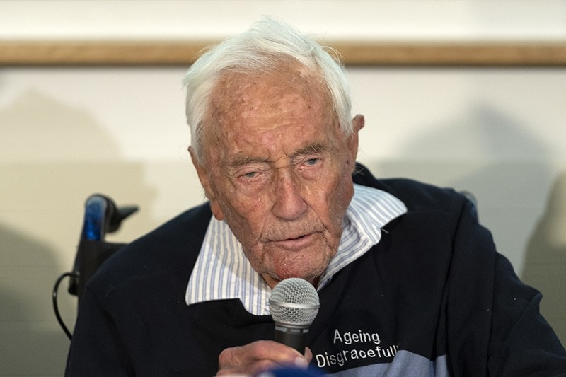 104-year-old Australian scientist David Goodall speaks during a press conference a day before his assisted suicide in Basel, Switzerland, on Wednesday, May 9, 2018. (AP Photo)