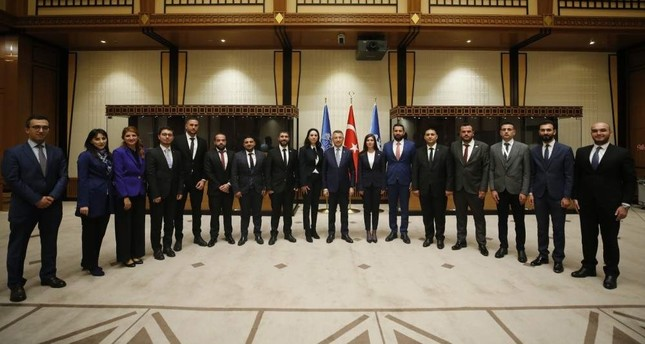 Vice President Fuat Oktay received a group of young Turkish Cypriots at the Presidential Complex, Ankara, Nov. 6, 2019. (AA Photo)
