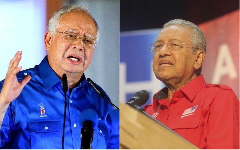 Najib Razak, left, and Mahathir Mohamad deliver their speeches during their last campaign rallies ahead of general election in Malaysia, May 8, 2018. (AP Photos)