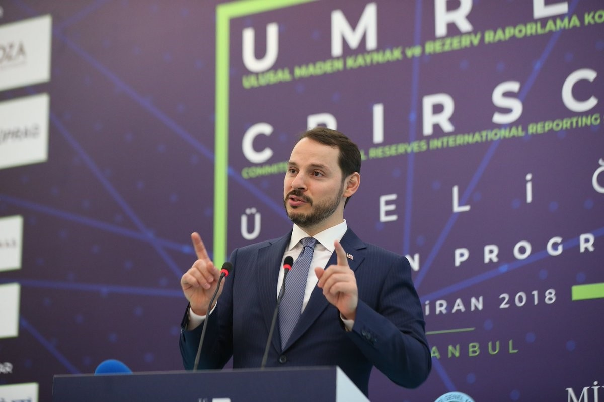Energy Minister Berat Albayrak speaks at the introduction meeting for the National Resources and Reserves Reporting Committee (UMREK), Istanbul, June 6.