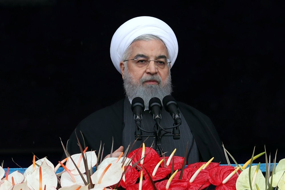 Iranian President Hassan Rouhani speaks during a ceremony to mark the 40th anniversary of the Islamic Revolution in Tehran, Iran, Feb. 11, 2019.