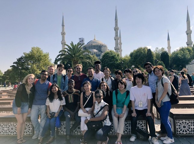 Students attending the Yunus Emre Institute's language course in Sultanahmet Square, Istanbul, during a field trip.