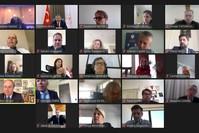 وزير الصحة التركي فخرالدين قوجة في اجتماع عبر الفيديو مع سفراء 26 دولة من بلدان الاتحاد الأوروبي الأناضول
