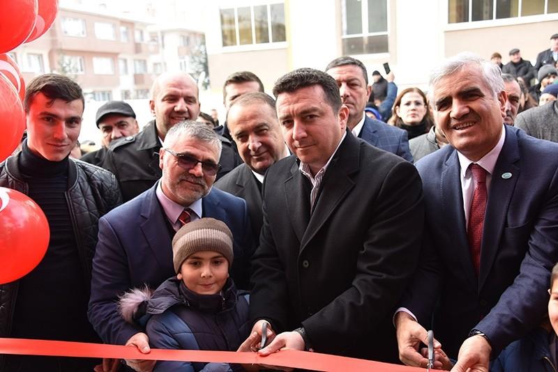 Ahu0131ska Turks, including head of World Union of Ahu0131ska Turks Fuat Uu00e7ar (R), gather to celebrate the opening of a bureau for the union in Bilecek, Turkey, Jan. 20, 2019. (IHA Photo)