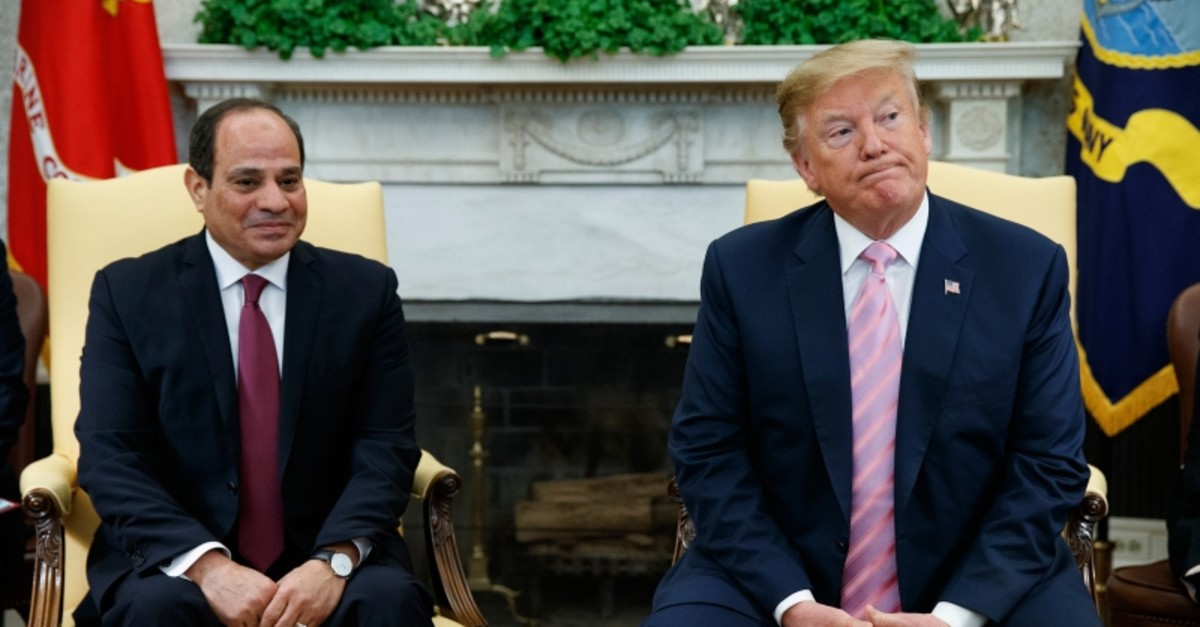 President Donald Trump meets with Egyptian President Abdel Fattah al-Sisi in the Oval Office of the White House, Tuesday, April 9, 2019, in Washington. (AP Photo)