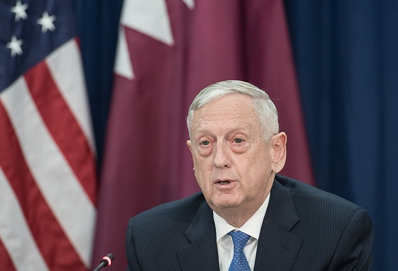 U.S. Defense Secretary Jim Mattis speaks prior to signing agreements with Qatar at the State Department in Washington, DC, on January 30, 2018. (AFP Photo)