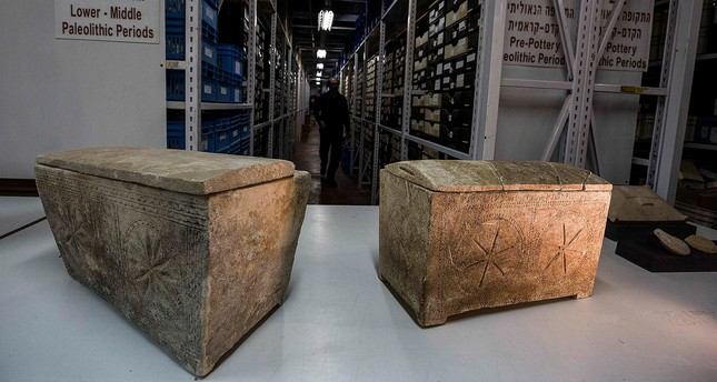 Ossuaries with inscriptions with Hebrew letters forming the word Yeshua, or Jesus, are stored in Israel's antiquities authority storeroom, in Beit Shemesh. (AP Photo)