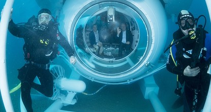 pAntalya Governor Münir Karaloğlu made a trial dive with the new touristic submarine Nemo Primero in Antalya./p  pDuring its inaugural dive, the submarine went 20 meters under the sea near Rat...