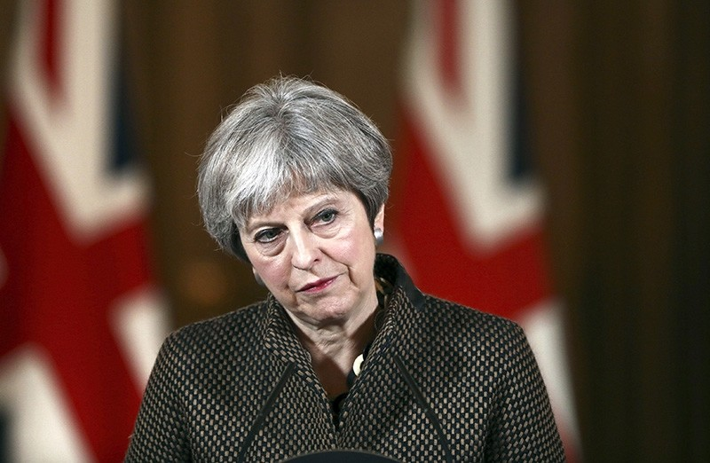 Britain's Prime Minister Theresa May during a press conference in 10 Downing Street, London, Saturday, April 14, 2018. (AP Photo)