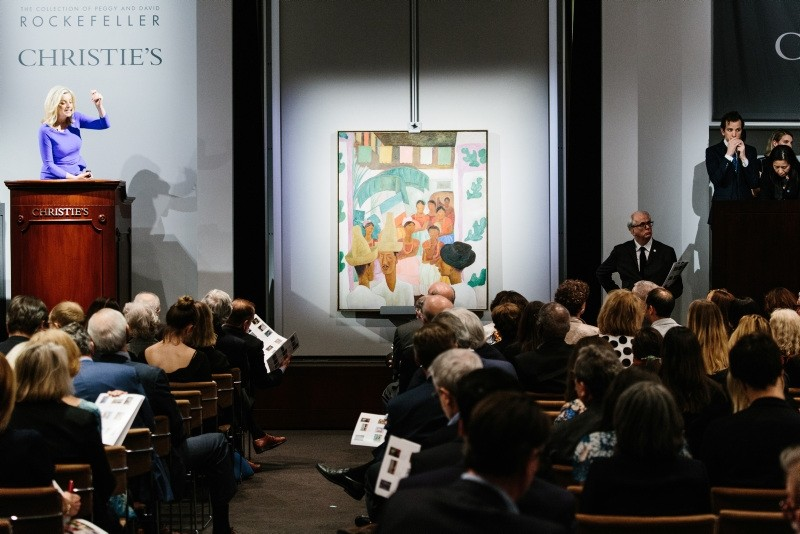 The painting 'The Rivals' by artist Diego Rivera is displayed during the sales event of The Collection of Peggy and David Rockefeller at Christie's auction house in New York (EPA Photo)