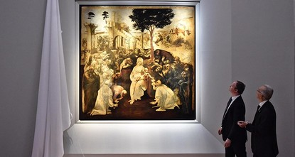 pAn early painting by Leonardo da Vinci has returned to public view in Florence, Italy, after almost six years of restoration work./p