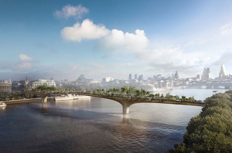 The proposed Garden Bridge is seen spanning the River Thames in this artist impression received via the Garden Bridge Trust in London (Reuters Photo)