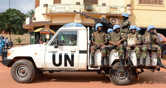 A file photo taken on Dec. 9, 2014 shows U.N. peacekeeping soldiers from Rwanda patrolling in Bangui, Central African Republic. (AFP Photo)