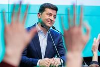 الممثل الكوميدي، فلاديمير زيلينسكي، مرشح حزب خادم الشعب المُعارض (الفرنسية)