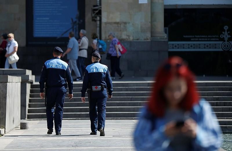 Policemen patrol at the Republic square in Yerevan, Armenia, May 3, 2018 (Reuters Photo)