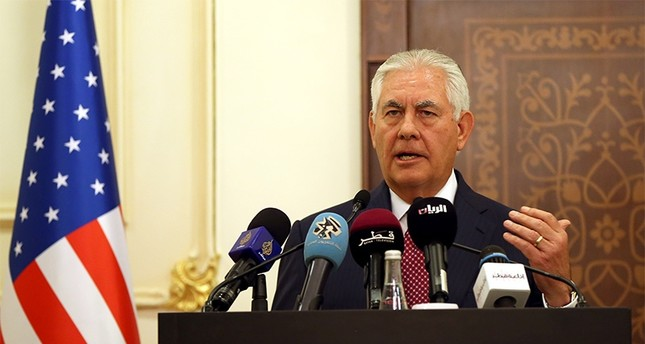 US Secretary of State Rex Tillerson attending a news conference in Doha (AA Photo)