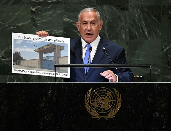 Israeli Prime Minister Benjamin Netanyahu addresses the General Assembly at the United Nations in New York September 27, 2018. (AFP Photo)