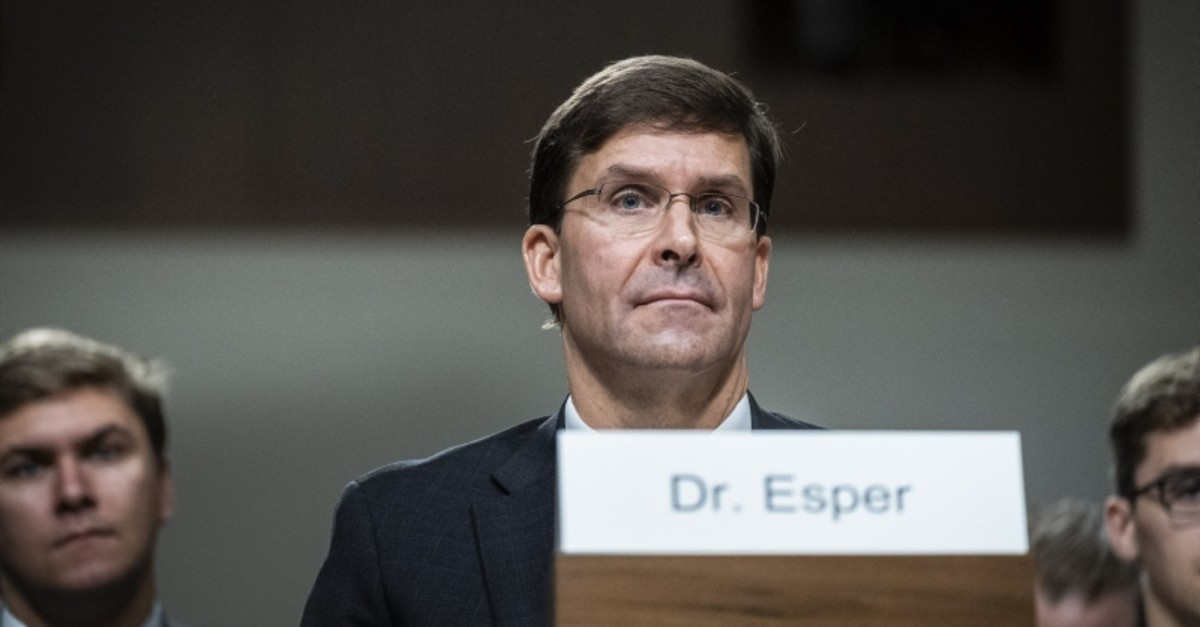 Secretary of Defense nominee, Mark Esper, listens to opening statements during his confirmation hearing before the Senate Armed Services Committee on July 16, 2019 in Washington, DC. (AFP Photo)