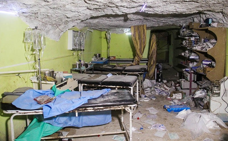 This file photograoh taken on April 4, 2017, shows destruction at a hospital room in Khan Sheikhun, a rebel-held town in the northwestern Syrian Idlib province, following a suspected toxic gas attack. (AFP Photo)