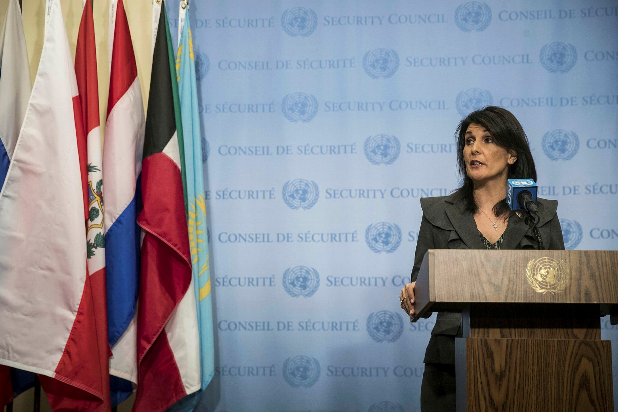 U.S. ambassador to the United Nations Nikki Haley speaks during a brief press availability at United Nations headquarters, January 2, 2018 in New York City. (AFP Photo)