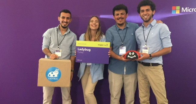 """The """"LadyBug"""" team of the İzmir Institute of Technology at Microsoft Imagine Cup."""