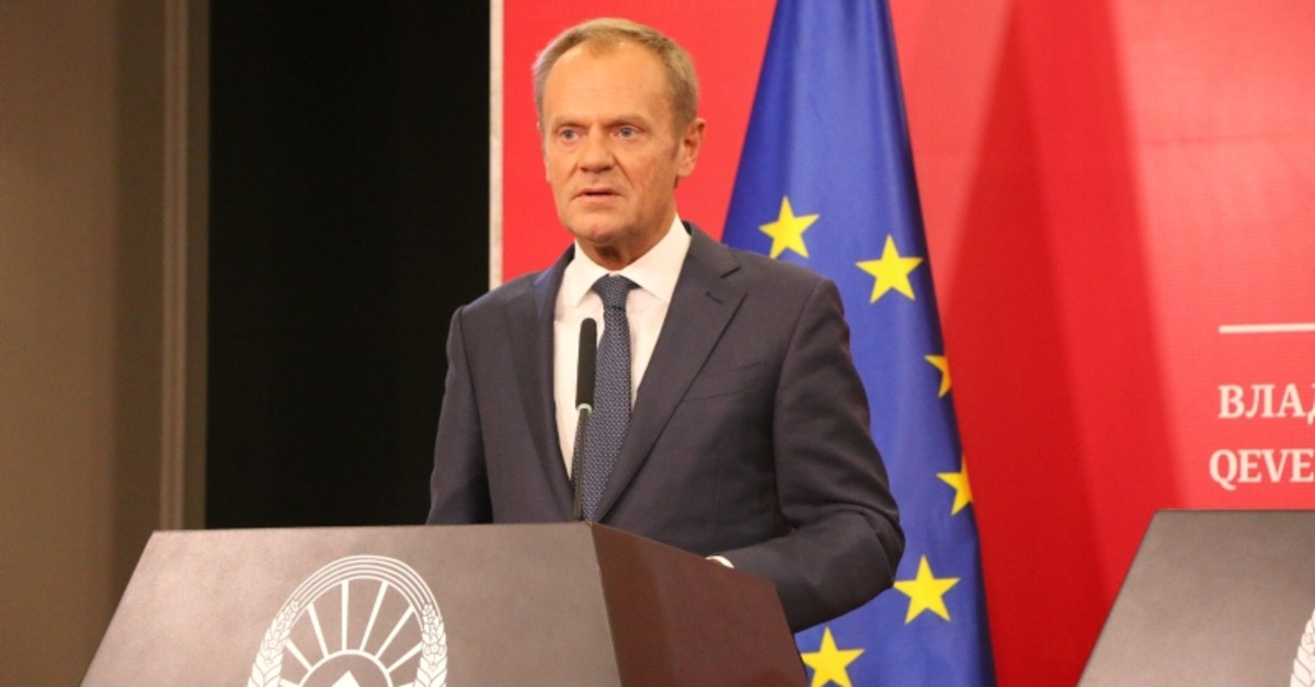 European Council President Donald Tusk looks on during a press conference in Skopje on September 17, 2019. (AA Photo)