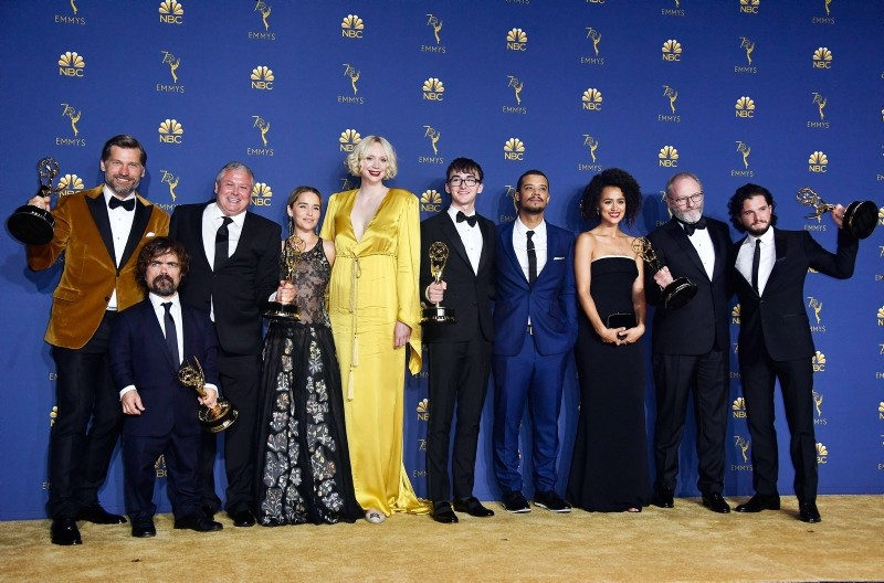 Cast of Outstanding Drama Series winner 'Game of Thrones' poses in the press room during the 70th Emmy Awards at Microsoft Theater in Los Angeles, California. (AFP Photo)