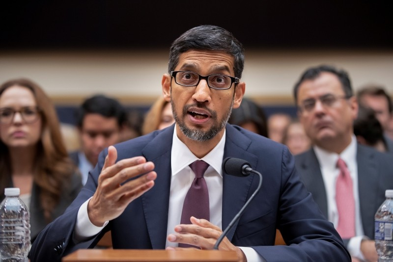Google CEO Sundar Pichai appears before the House Judiciary Committee to be questioned about the internet giant's privacy security and data collection, on Capitol Hill in Washington, Tuesday, Dec. 11, 2018. (AP Photo)