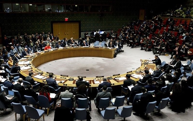 A meeting of the UN Security Council at United Nations headquarters in New York, New York, USA, Dec. 15, 2017. (EPA Photo)