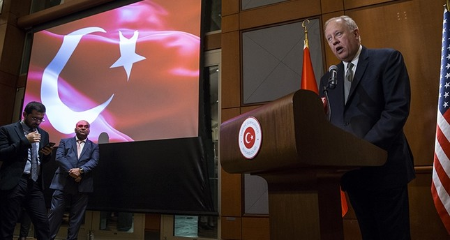 US Under Secretary of State for Political Affairs Thomas A. Shannon Jr. reads President Donald Trump's message during the Republic Day reception in Embassy of Turkey, in Washington D.C., on Oct. 28, 2017. (AA Photo)