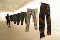Colourful jeans hand painted by the artist Johny Dar are among 100 pairs put up for auction by celebrities including British model Kate Moss and American actress Sharon Stone in order to raise...
