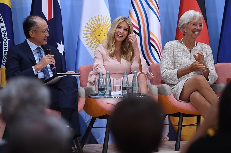 World Bank Group President Jim Yong Kim, the daughter of the U.S. President, Ivanka Trump, and the Managing Director of the International Monetary Fund (IMF) Christine Lagarde attend a panel at the G20 summit in Germany, July 8, 2017. (AFP Photo)