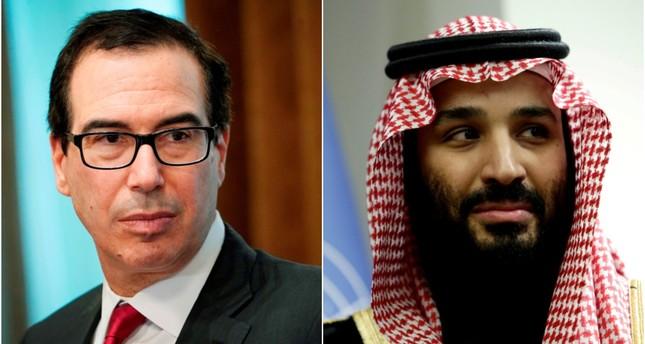 US Treasury Secretary Steven Mnuchin (L) held closed-door talks in Riyadh with Saudi Crown Prince Mohammed bin Salman. (AFP/ REUTERS Photos)