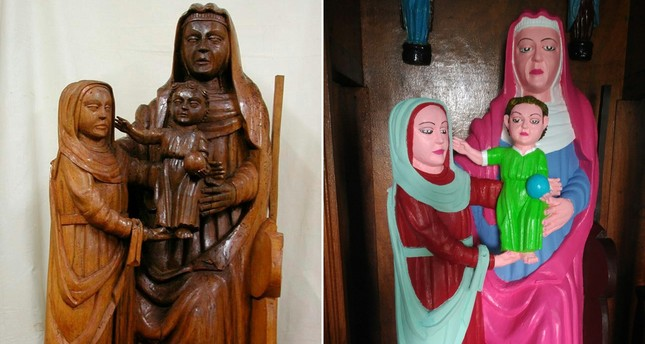 This combination of pictures created on September 07, 2018 shows a Romanesque period statue depicting Virgin Mary before and after being restored by a local woman of the village of El Ranadoiro. (AFP Photo)