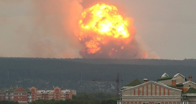 A view shows flame and smoke rising from the site of blasts at an ammunition depot near the town of Achinsk in Krasnoyarsk region, Russia August 5, 2019. REUTERS Photo