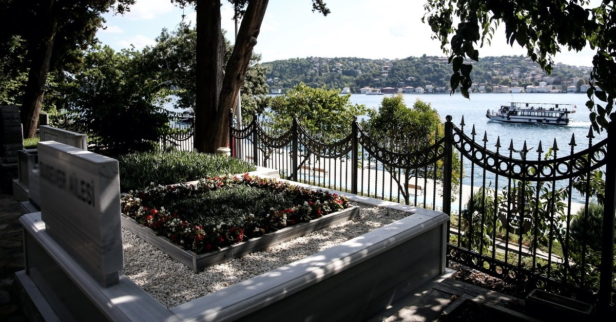 A grave overlooking the Bosporus at the Au015fiyan cemetery where the fee for a burial plot stands at TL 30,000.