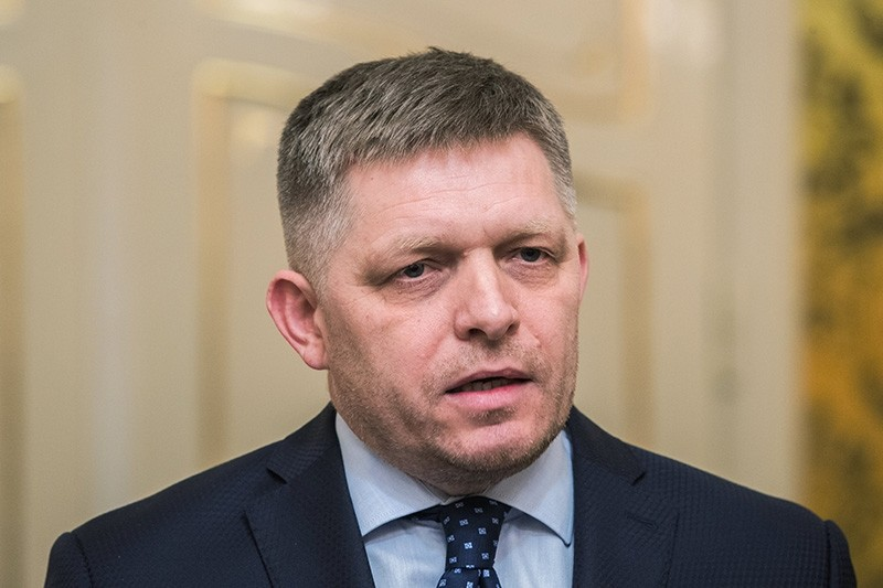 Prime minister and chairman of the SMER party Robert Fico during the press conference where he offered his resignation, in Bratislava, Slovakia, March 14, 2018. (EPA Photo)