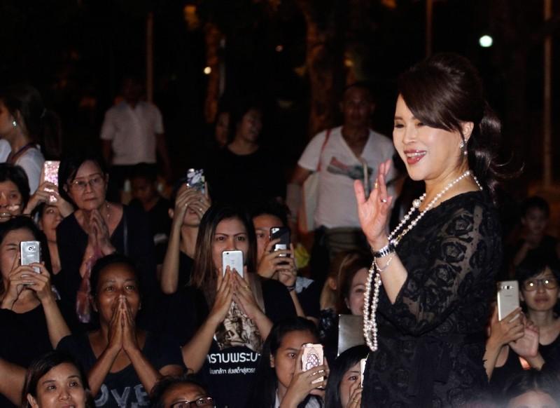 In this Oct 27, 2017, photo, Thai Princess Ubolratana Mahidol waves to Thai people outside Grand Palace in Bangkok , Thailand (AP Photo)