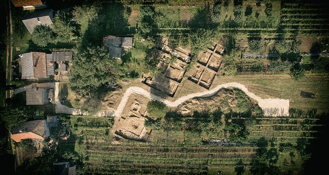 This aerial photo dated April 9, 2018 shows the archaelogical excavation site near Szigetvar, Hungary. File Photo