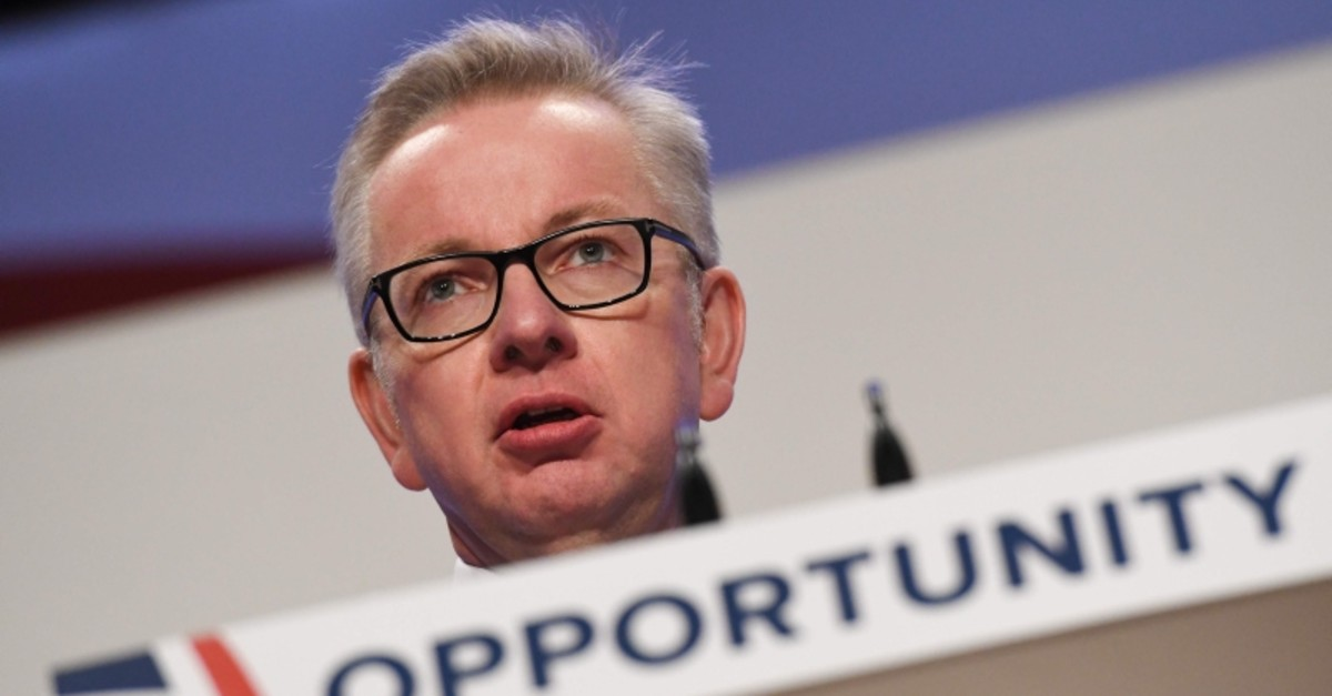 In this file photo taken on March 14, 2019 Britain's Environment, Food and Rural Affairs Secretary Michael Gove arrives in Downing Street in London on March 14, 2019, ahead of a further Brexit vote. (AFP Photo)